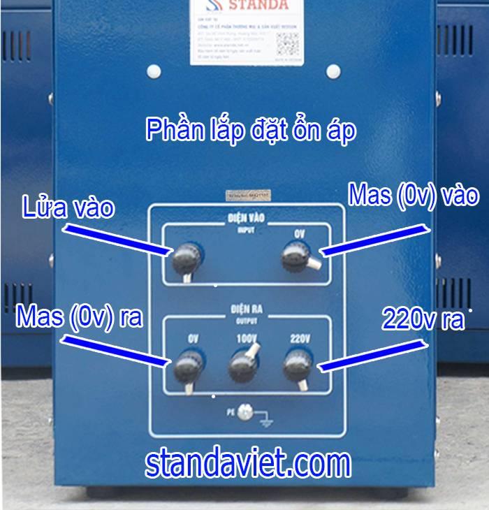 Dùng đầu Cos lắp đặt ổn áp standa 7-5kva tránh move