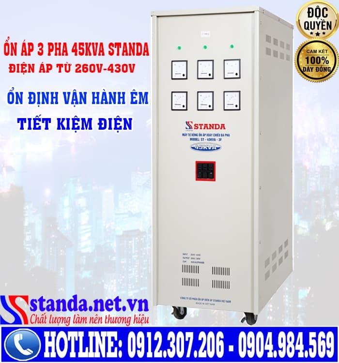 Thông số kỹ thuật của ổn áp 3 pha 45kva standa điện áp 260V-430V