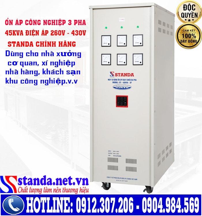 Công dụng, chức năng của ổn áp Standa dải điện 260V-430V 45kVA