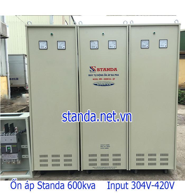 Ổn áp Standa 600kVA dải 304V-420V điện ra 380V hàng chuẩn hiện nay