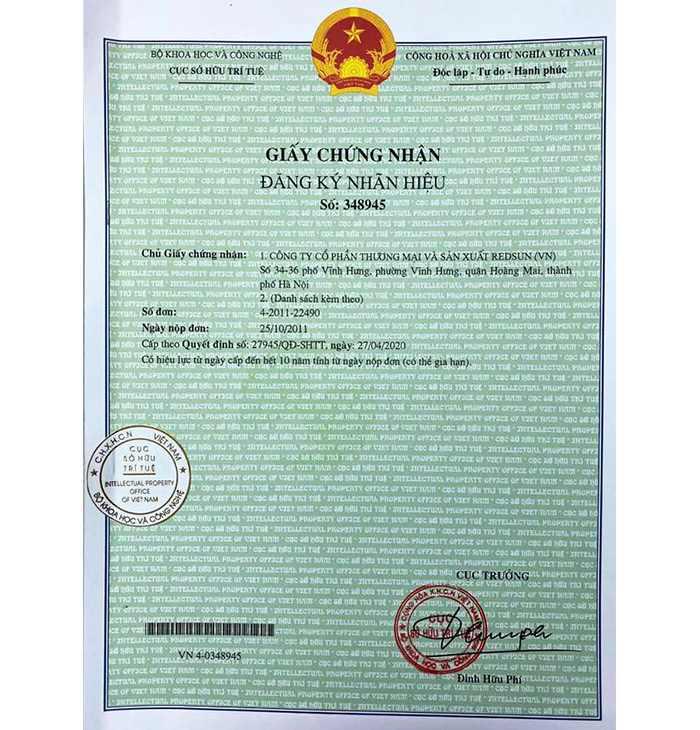 Giấy chứng nhận đăng ký nhãn hiệu STANDA-RS trang1