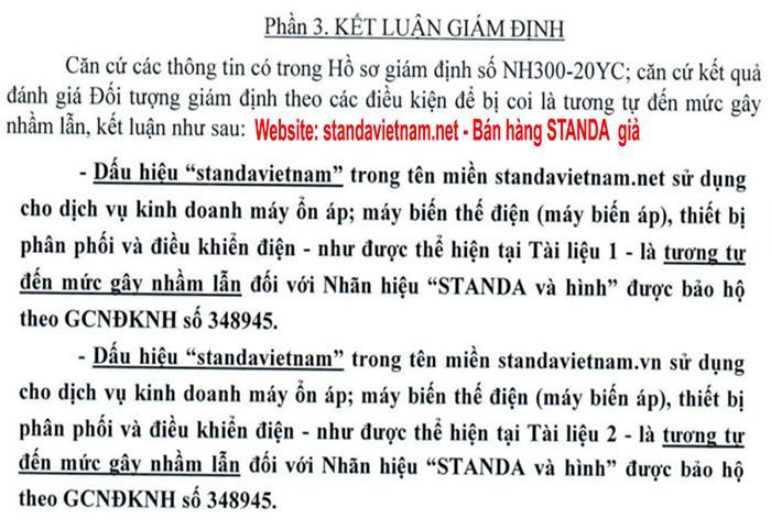 Website standavietnam,net bán hàng standa giả