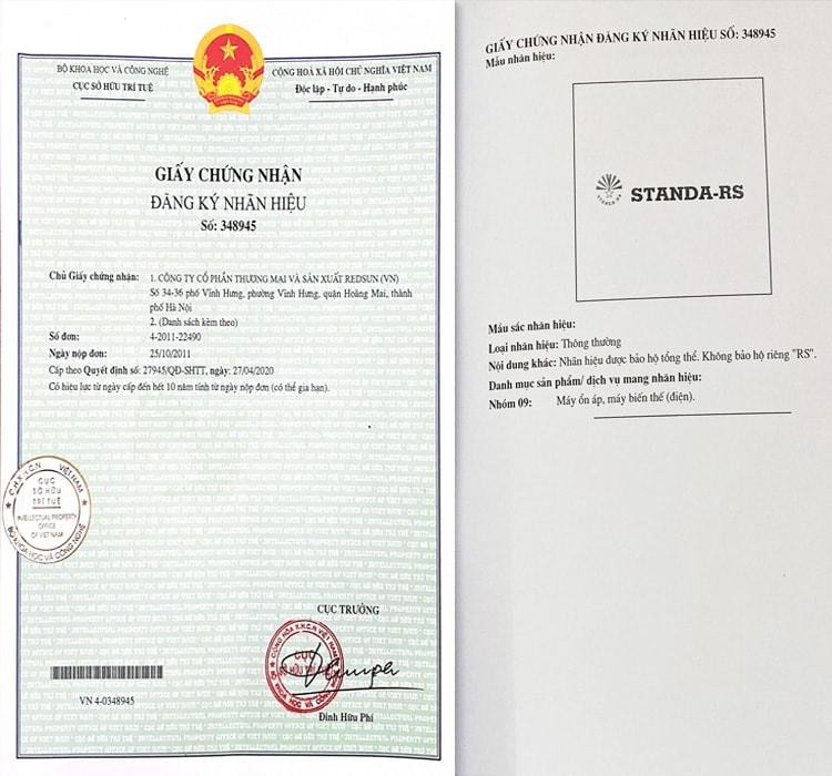 chứng nhận quyền sở hữu trí tuệ sản xuất độc quyền ổn áp Standa tại hoàng mai
