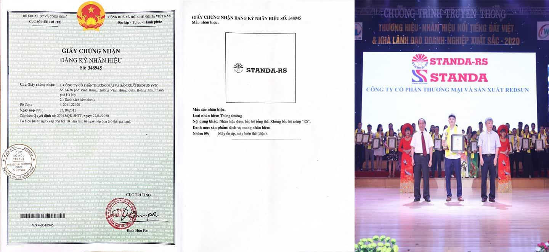 Ảnh giấy chứng nhận nhãn hiệu STANDA - RS và chứng nhận giải thưởng STANDA
