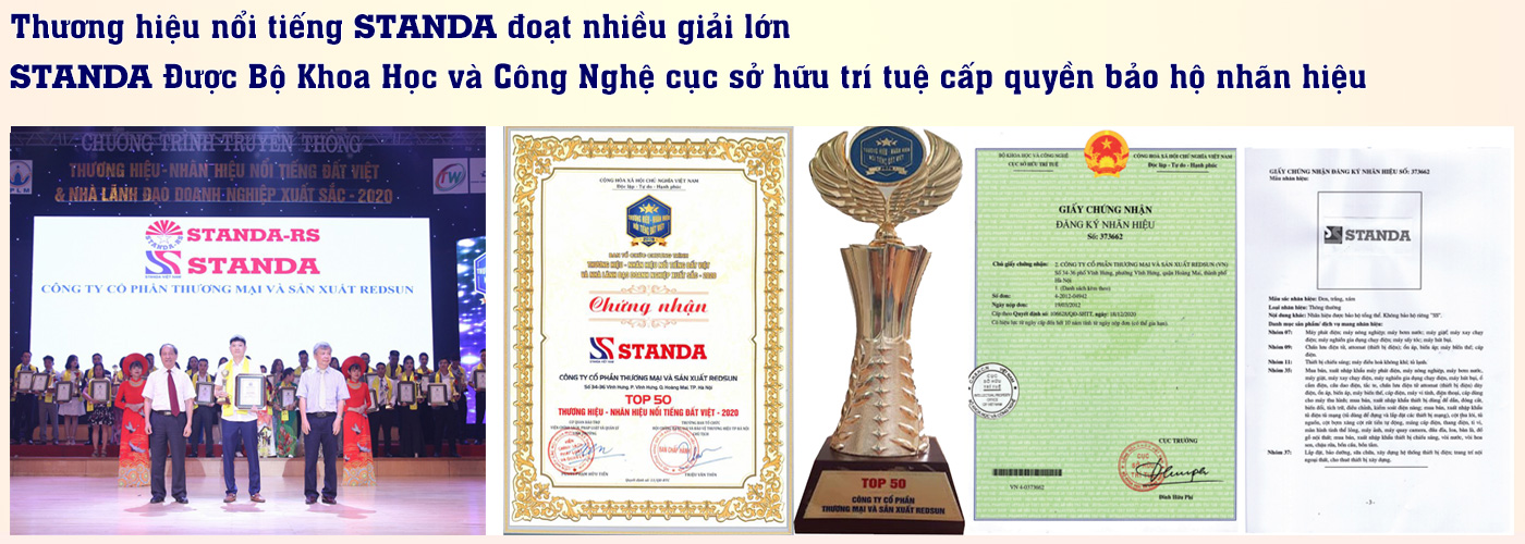 Giải thưởng thương hiệu nổi tiếng Standa cùng chứng nhận bảo hộ thương hiệu STanda
