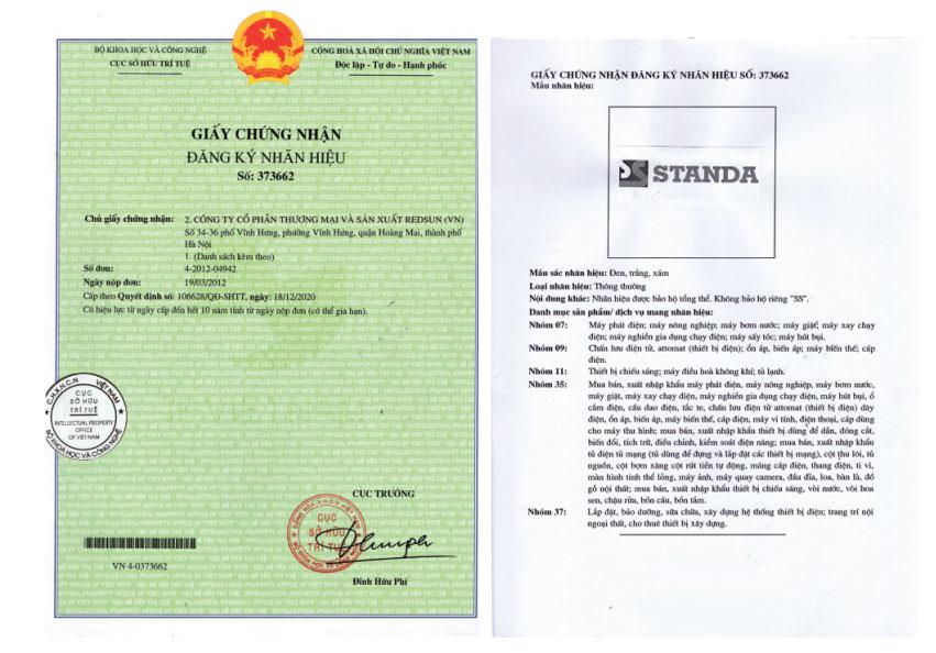Ổn áp standa đã được cấp quyền bảo hộ nhãn hiệu Standa chính hãng không đổi tên