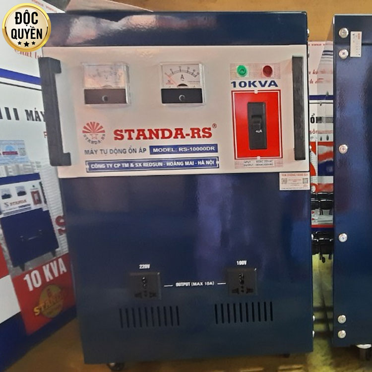 Ổn áp Standa RS 10KVA dải 50V 2 ổ cắm Redsun