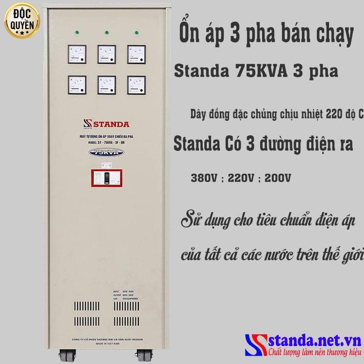 ổn áp 3 pha bán chạy nhất hiện nay với loại ổn áp Standa 75KVA 3 pha